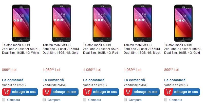 eMAG.ro aduce în stoc smartphone-ul Asus ZenFone 2 Laser; vine în variante de 5 și 5.5 inch