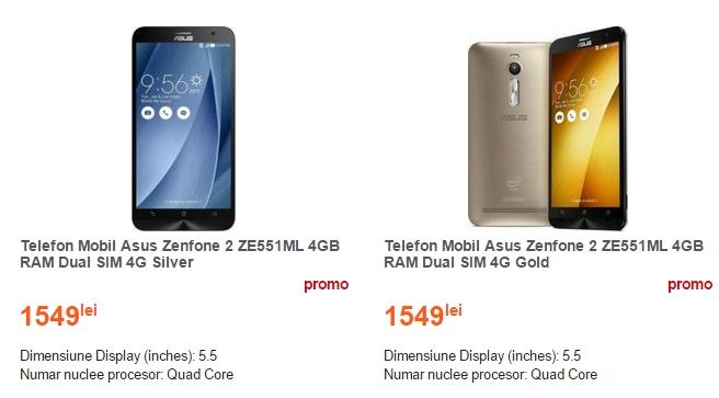 Asus ZenFone 2 în varianta cu 4 GB RAM costă 1.549 lei la Cel.ro
