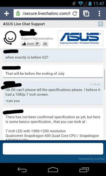 O discuție cu un reprezentant ASUS confirma specificațiile lui Nexus 7 2