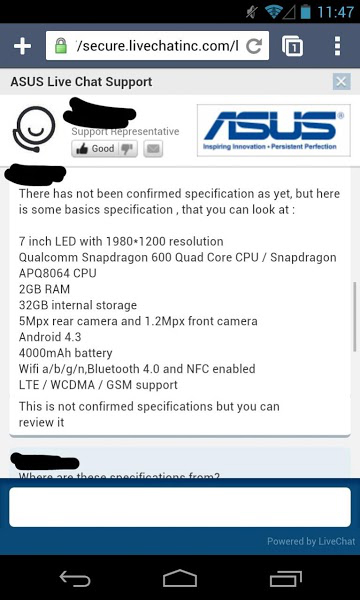 Specificatii Nexus 7 2