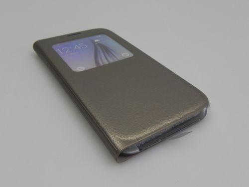 Husă Originală Samsung Galaxy S6 S View Cover din Piele Ecologică Gold