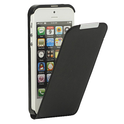 Husa iPhone 5 - satin Flip Type neagra de la CUBZ