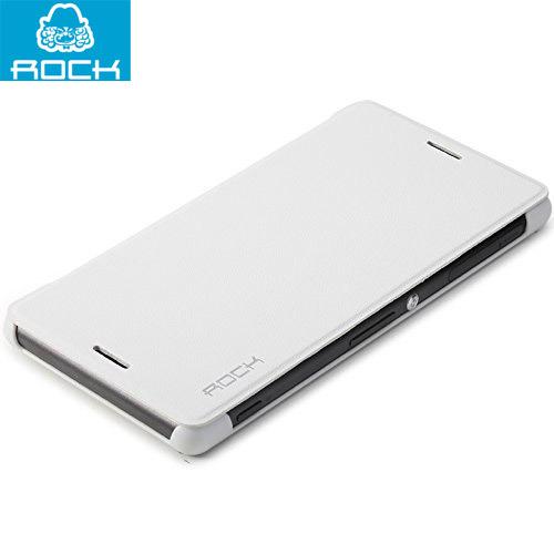 Husa Sony Xperia Z3: Rock Ultraslim Book Type Albă