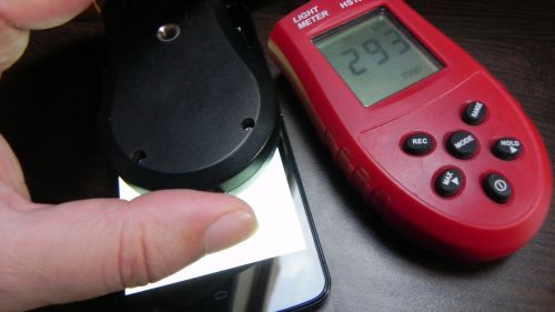 Luminozitate ecran Allview V1 Viper e - 293 de unități LUX pe alb