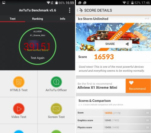 Allview X1 Xtreme Mini benchmarks