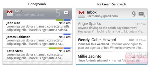Un crampei din Android Ice Cream Sandwich - iata cum arata widgeturile email si calendar