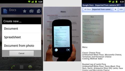 Google Docs pentru Android