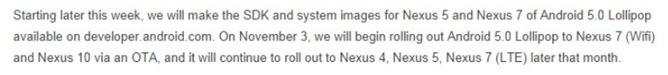 Nexus 7 WiFi și Nexus 10 vor primi update-ul Android 5.0 Lollipop via OTA pe data de 3 noiembrie