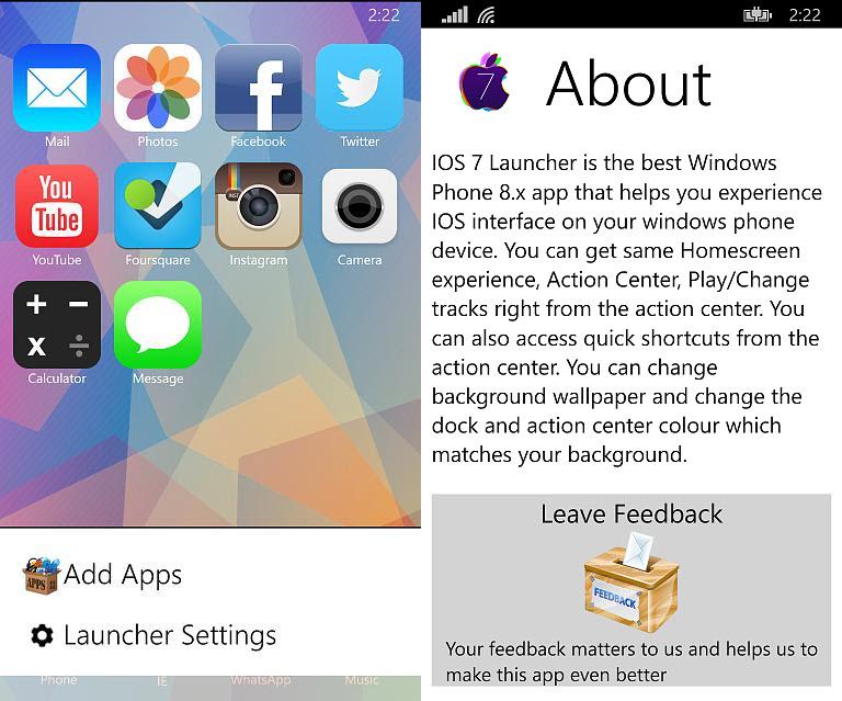 IOS 7 Launcher Windows Phone