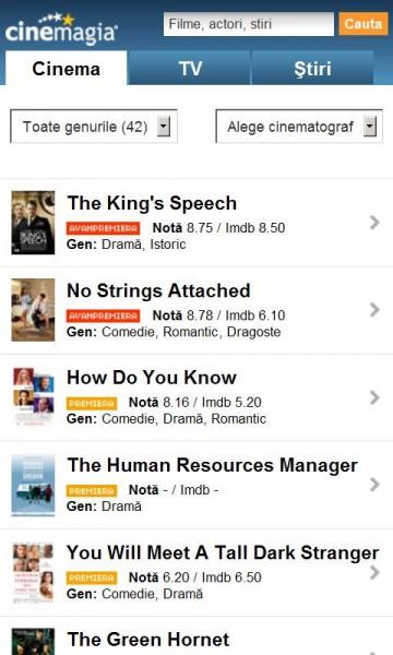 Cinemagia pentru Android, o aplicație ideală pentru cinefili