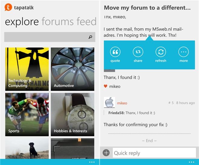 Aplicația Tapatalk primește un update pentru platforma Windows Phone