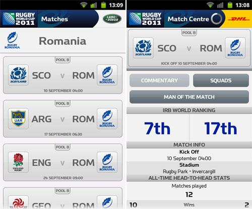 Urmărește echipa de rugby a României la Cupa Mondială 2011 pe mobil sau tableta cu aplicatiile speciale RWC 2011 (Galerie foto)