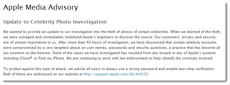 Comunicat de presa Apple