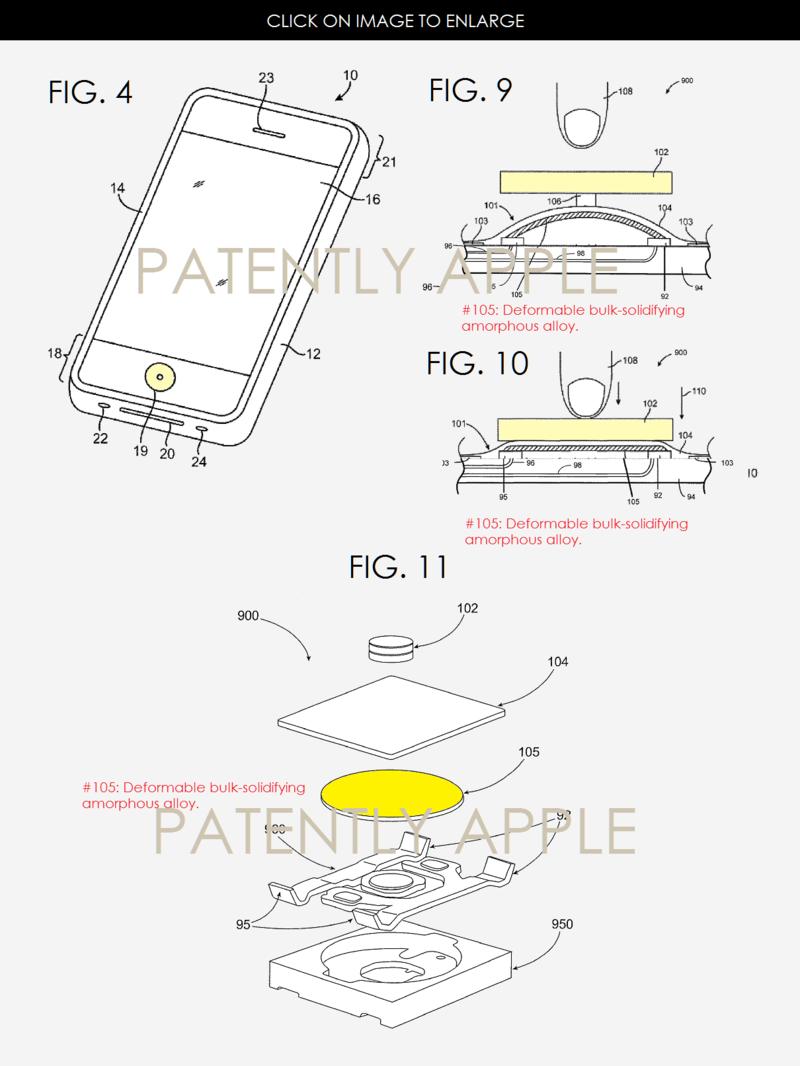 Apple primeşte 40 de brevete noi, inclusiv unul ce indică faptul că Liquid Metal e folosit în mecanismul butoanelor Home; Vedem şi un brevet legat de răcire
