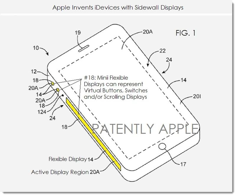 Apple primeşte brevetul pentru ecrane flexibile cu margini laterale ce pot deveni butoane virtuale