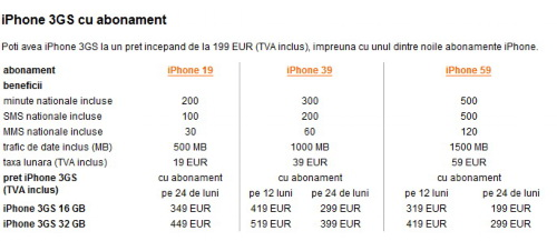 Oferta Orange Romania - Abonamente iPhone 3G S