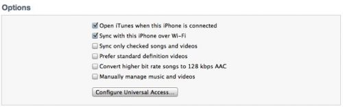 sincronizarea prin WiFi cu iTunes 10.5 și iOS 5