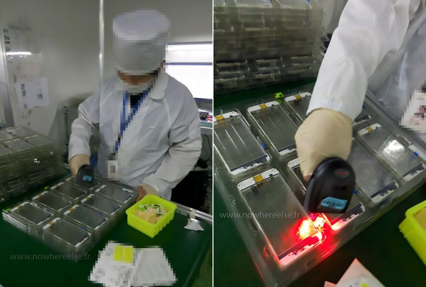 Panoul frontal destinat lui iPhone 6s ni se prezintă în fotografii direct de pe linia de asamblare