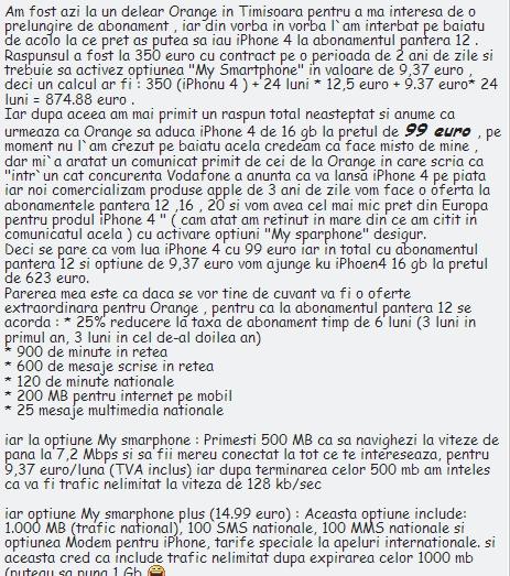 iPhone 4 la 99 de euro prin Orange