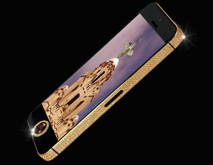 Cel mai scump smartphone din lume, iPhone 5 cu carcasă din aur ticsită cu diamante