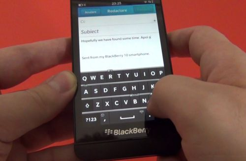 Tastatura lui BlackBerry Z10
