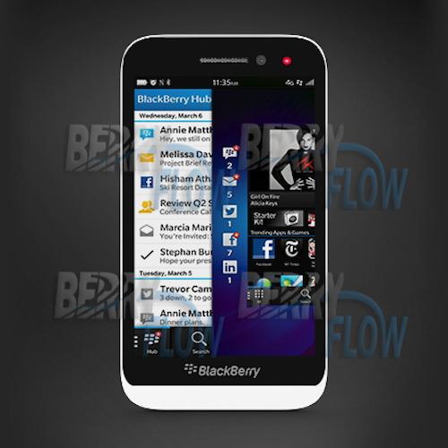 BlackBerry Z5 apare pe jumătate într-o fotografie şi într-o randare de presă; Midrange BB 10 OS?