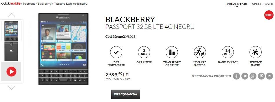 BlackBerry Passport listat de către QuickMobile la pre-comandă; costă 2.599 lei În versiunea cu 32 GB