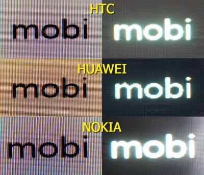 Comparatie display HTC Windows Phone 8S versus Nokia Lumia 820 vs Huawei Ascend W1