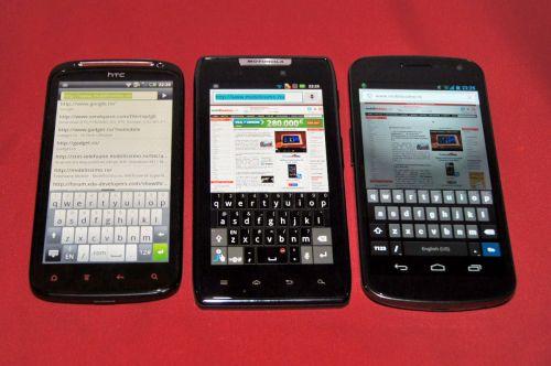 Tastatura portrait HTC Sensation XE vs Motorola RAZR vs Samsung Galaxy Nexus