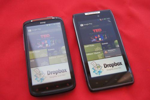HTC Sensation XE si Motorola Droid Razr