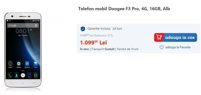 Doogee F3 Pro este disponibil la eMAG; vine cu 3 GB RAM, display FHD de 5 inch și costă 1.099 lei