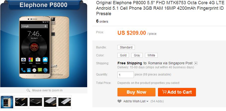 Pret Elephone P8000