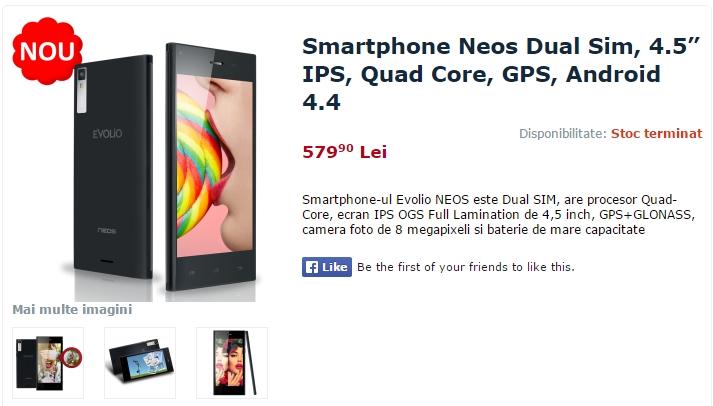 Noul smartphone Evolio Neos Își dezvăluie specificațiile și prețul oficial