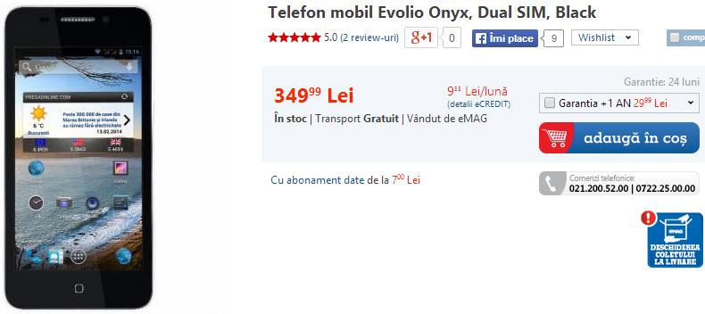 Evolio Onyx ajunge la eMAG.ro: unul dintre cele mai ieftine smartphone-uri Android de pe piață