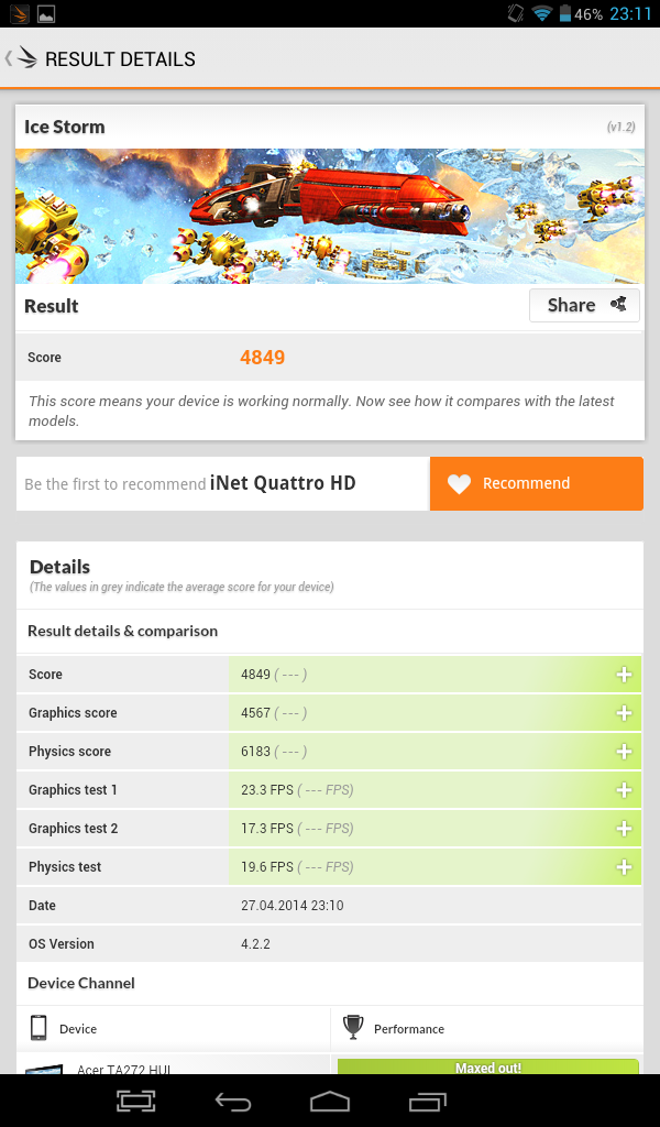Benchmark-uri Evolio Quattro HD 7 - (3DMark)