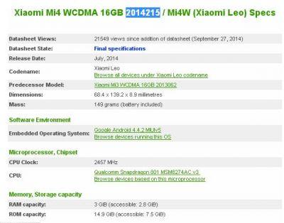 Xiaomi mi4 detalii model