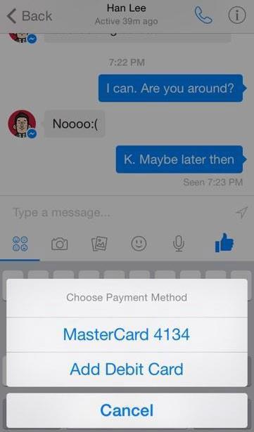 Facebook pregătește plăți prin aplicația Facebook Messenger, conform unor screenshoturi ajunse pe web