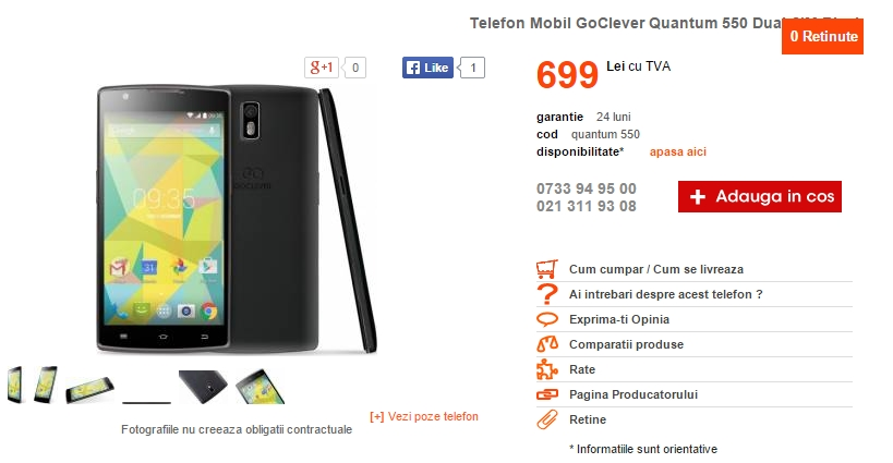 GoClever Quantum 550 Dual-SIM, phablet de 5.5 inch disponibil prin CEL.ro la prețul 599 lei