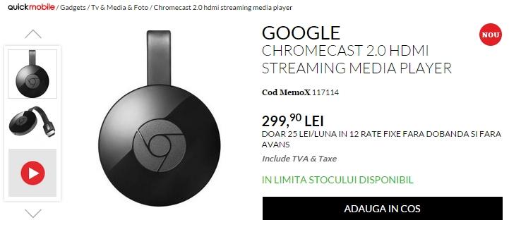 Noul Chromecast este acum disponibil în stocurile celor de la QuickMobile.ro; iată cât costă acesta