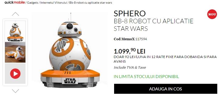 SPHERO BB-8, roboțelul ce poate fi controlat cu smartphone-ul, ajunge în oferta QuickMobile.ro