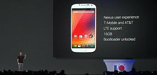 Ultima lansare de azi a fost cea a lui Samsung Galaxy S4, Într-o versiune care rulează versiunea stock a lui Android Jelly Bean