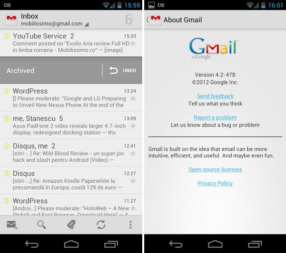 Aplicația Gmail pentru Android În versiunea 4.2: capturi de ecran și informații complete