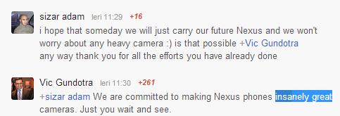 Vic Gundotra, oficial de marcă Google, promite o super cameră pe următorul telefon Nexus!