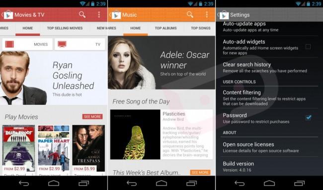 Google Play Store versiunea 4.0