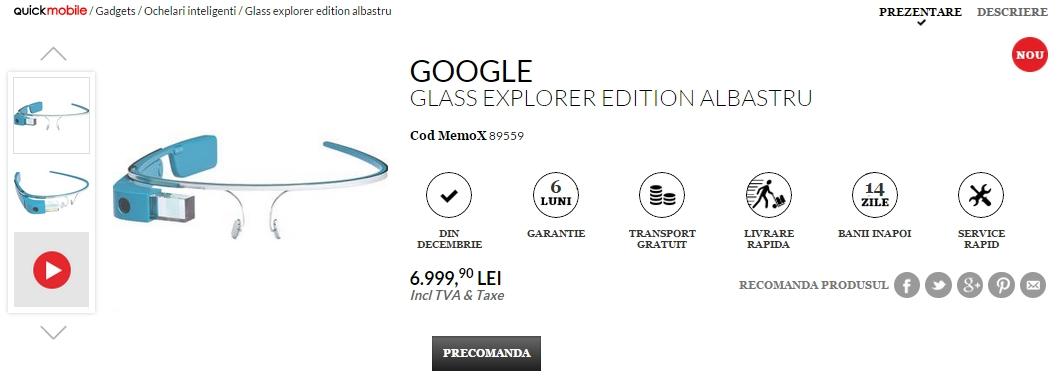 Ochelarii inteligenți Google Glass disponibili la pre-comandă prin QuickMobile cu livrare În decembrie