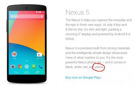 Google Nexus 5 ar putea sosi și În varianta de culoare galbenă În curând; O scăpare pe site-ul Android confirma!
