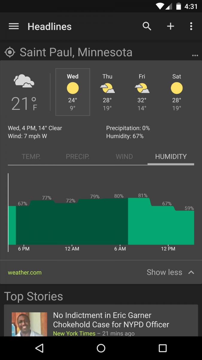 Aplicația Google News and Weather e actualizată la versiunea 2.2, vine cu o temă de fundal neagră, funcții noi
