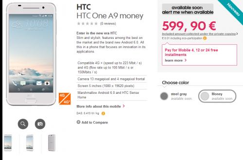 HTC One A9 apare în oferta unui retailer francez; Imagini de calitate cu telefonul și un prim preț!