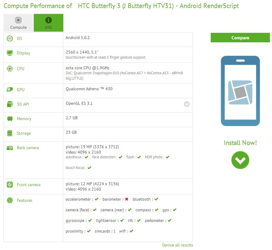 HTC Butterfly 3 scăpat pe web prin intermediul lui CompuBench; Dotările sale includ o cameră de 13 MP pentru selfie-uri, cu captura 4K