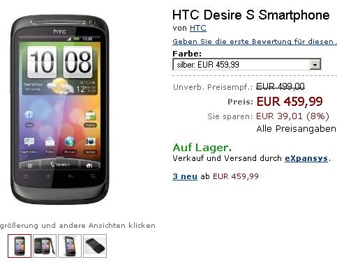 HTC Desire S sosește În Europa la prețul de 459.99 euro